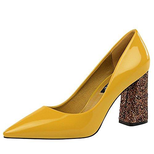 MissSaSa Damen Lackleder High Heel Pumps Gelb