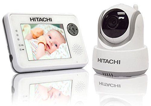(Hitachi Baby Monitor with Night Vision and Auto Tracking, White/Gray)