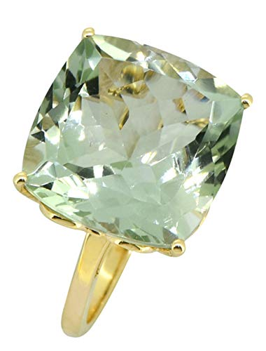 YoTreasure 13.45 Ct Cushion Cut Green Amethyst Solid 14K Yellow Gold Ring