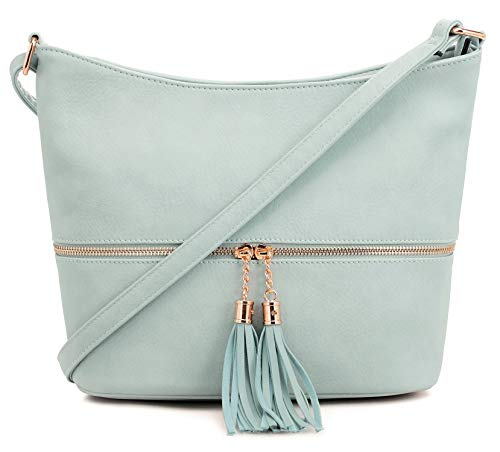 - DELUXITY Medium Size Hobo Crossbody Bag with Tassel/Zipper Accent (Mint)