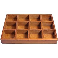 JustNile Multi-functional Distressed Vintage Wooden Storage Divider Box Drawer Desk Organizer Tray - 12 slots