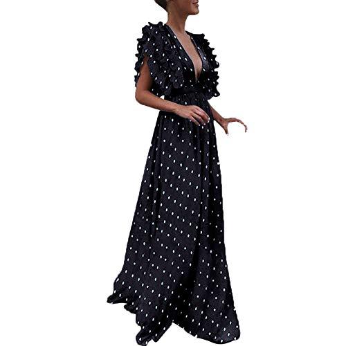 - Plus Size Party Dress for Women, Lady Elegant Maxi Dresses Vintage Dot Fly Sleeve Back Long Dress Hollow Deep V-Neck Sexy Dress lkoezi