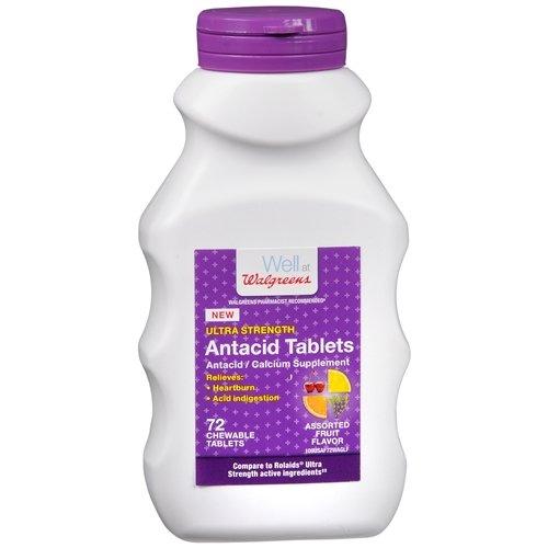 Walgreens Ultra Strength Antacid Chewable Tablets, Fruit 72 ea(pack of 2)