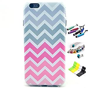 YULIN Pink Stripes Pattern with Stylus ,Anti-Dust Plug and Stand TPU Soft Case for iPhone 5C