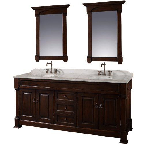 Wyndham Cherry (Wyndham Collection Andover 72 inch Double Bathroom Vanity in Dark Cherry, White Carrera Marble Countertop, White Undermount Round Sinks, and 28 inch Mirrors)