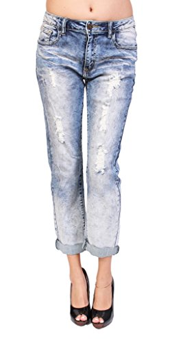 Machine Jeans Women Distressed Acid Wash Boyfriend Jeans with Whisker Detail 5 Medium Denim