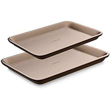 Nutrichef NC2TRBK1 Nonstick Cookie Sheet Pan | 2pc Large and Med Metal Baking Tray Professional Quality Kitchen | Non-Stick Bake Trays w/Rimmed Borders, Guaranteed NOT to Wrap-FDA approved