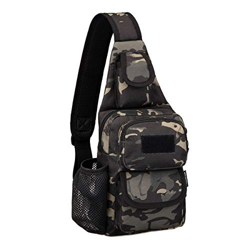 CamGo Tactical Sling Bag Water-Resistant Crossbody Chest Pack One Strap Mini Shoulder Backpack for Walking Hiking Traveling Fishing (Camo Black 02)