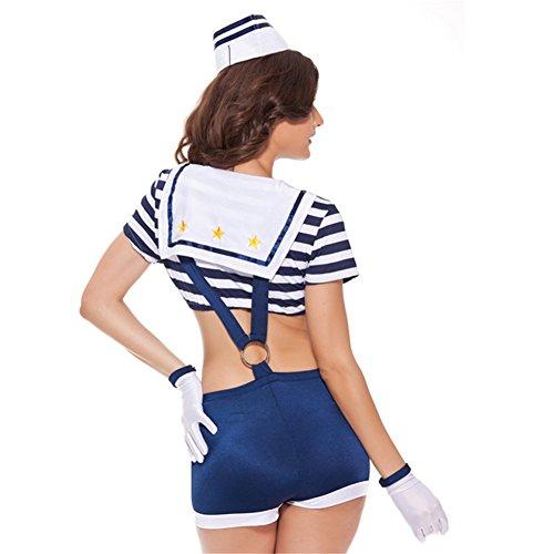 Flash Dance Latin Costumes (Cosplay Costumes Uniform Suit ,Brawdress T-shirt Shorts Suspenders (M, Blue))