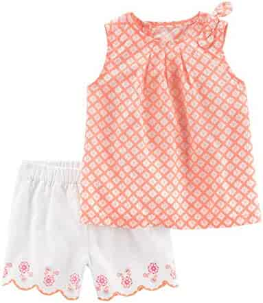 9f8f1f3f8a Carter s Baby Girls  2-Piece Poplin Top   Scallop Short Set