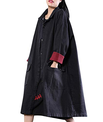 YESNO WL7 Women Casual Plus Size Denim Jacket Boyfriend Loose Trench Coat Button Down Contrast Color Lined Cuff ()