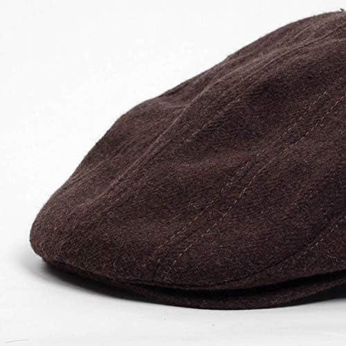 ハンチング帽 メンズ 秋 冬 シーズン ブラウン 茶色 ソリッド ツイード 毛織 4枚はぎ パッチワーク 接ぎ合わせ ハンチング キャップ 帽子 サイズ 58cm 調整可能