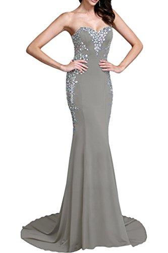 Partykleid Promkleid Hochwertig Damen Festkleid Ivydressing Abendkleid Silber Chiffon Steine Mermaid Lang x1gYxUZqw