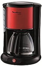 Moulinex FG360D11 Cafetera de goteo, 1000 W, 1.25 L, color negro y rojo