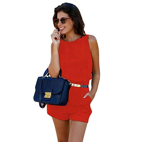 POCCIOL Womens Love Jumpsuit, Ladies Romper Mini Playsuit Summer Holiday Beach Short Jumpsuit (Red, M) Holiday Romper