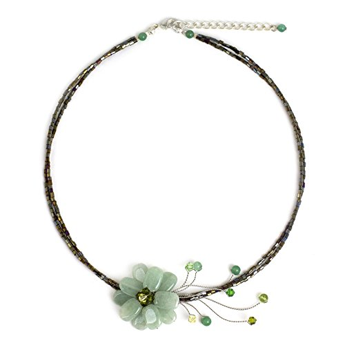 NOVICA Quartzite and Peridot Handmade Beaded Flower Choker Necklace, 17
