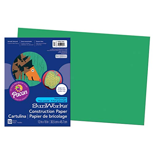 """SunWorks Construction Paper, Holiday Green,  12"""" x 18"""", 50 Sheets"""
