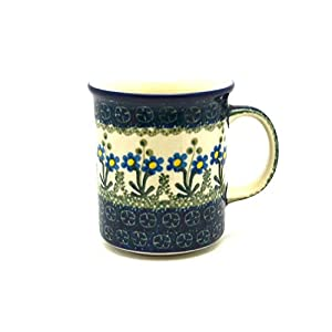 Polish Pottery 8 oz. Straight Sided Mug – Blue Spring Daisy