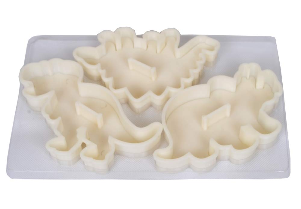 Dinosaur Cookie Cutters Stampers Emboss Fossil Bone Pattern Dinosaur Cake Topper Decoration Mold By Garloy(Pack of 3 Pairs)