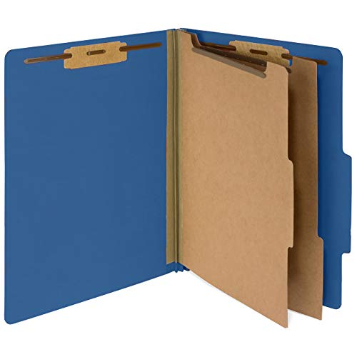 10 Dark Blue Classification Folders- 2 Divider-2'' Tyvek expansions- Durable 2 Prongs Designed to Organize Standard Medical Files, Law Client Files- Letter Size, Dark Blue, 10 Pack (-326)