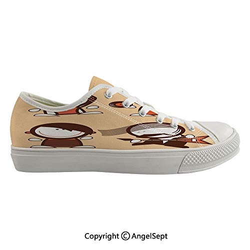 Durable Anti-Slip Sole Washable Canvas Shoes 17.32inch Musician People Icons with Guitar Headphones Hip Hop Boy DJ Emo Song Star Print Decorative,Sand Brown White Flexible and Soft Nice Gift (Best Shoes For Flat Footed Person)
