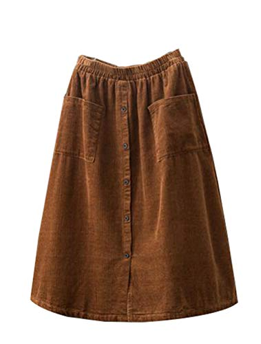 Minibee Women's Corduroy Midi Skirt Front Split Buttons A-Line Dress Brown 2XL