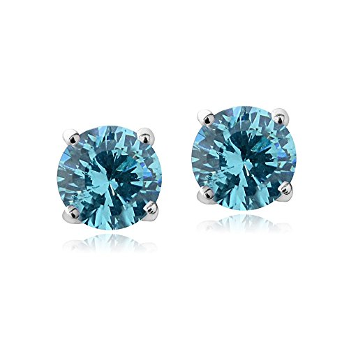 Bria Lou Silver Flashed Aqua March Birthstone Color Round Stud Earrings Made with Swarovski Crystals (6mm)