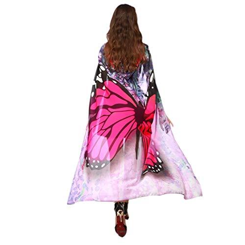 iDWZA Women Fashion Print Chiffon Butterfly Wing Cape Scarf Peacock Shawl Wraps(140100cm,Hot Pink) -