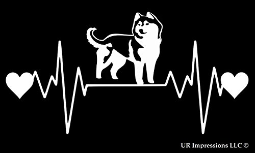 UR Impressions Siberian Husky Heartbeat Decal Vinyl Sticker Graphics for Cars Trucks SUV Vans Walls Windows Laptop|White|7.5 X 4.25 inch|URI257