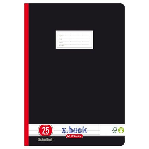 Herlitz 331215 Schulheft A4, liniert mit Rand, Lineatur 25, 20 Blatt, schwarz 10er Packung