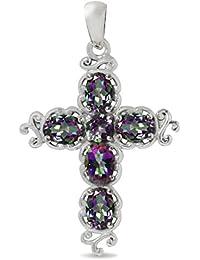 3.06ct. Mystic Fire Topaz 925 Sterling Silver Victorian Cross Pendant