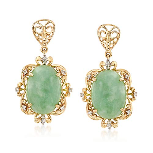 Oval Green Jade 14kt Earrings - Ross-Simons Green Jade Drop Earrings With Diamond Accents in 14kt Yellow Gold