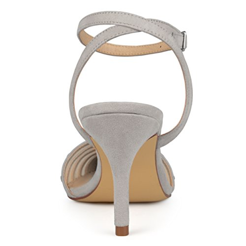 Brinley Co Womens Faux Suede Rhinestone Pointed Toe Ankle-Strap Heels Grey zh7U2