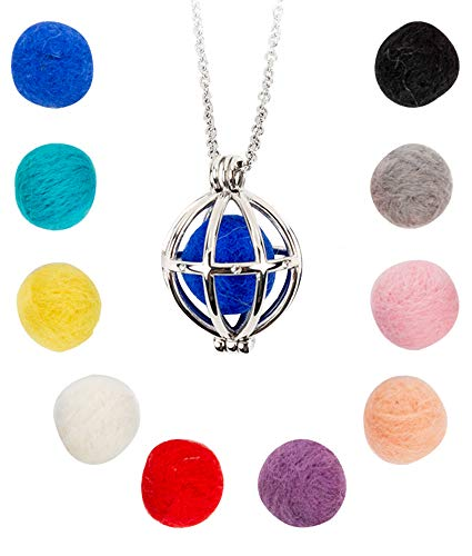Urban Hayloft Essential Oil Diffuser Necklace - Aromatherapy Pendant with Adjustable 30