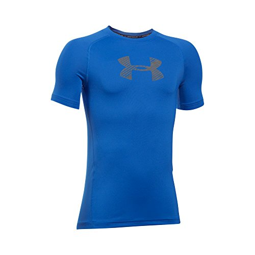 Under Armour Boys' HeatGear Armour Short Sleeve Fitted Shirt, Ultra Blue/Graphite, Youth Large