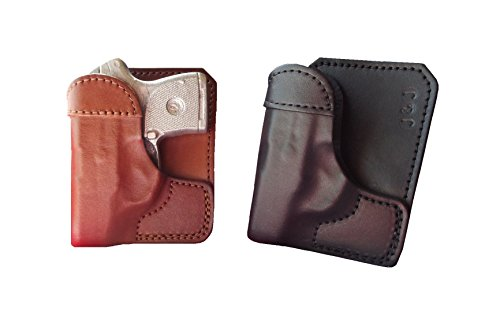 J&J Custom Fit SIG SAUER P238 Formed Wallet Style Premium Leather Back/Cargo Pocket Holster (Brown, Right) (Best Pocket Holster For Sig P238)