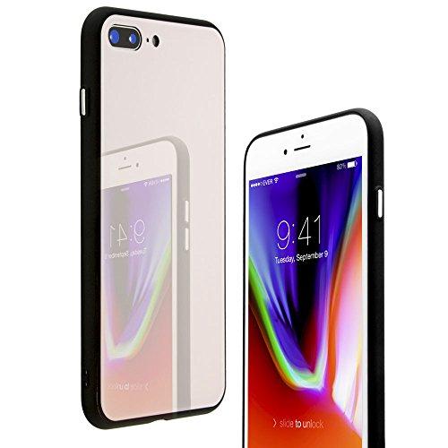 iphone8 plus ケース 耐衝撃 ストラップ ピンク pink 女の子 レディース アイフォン7プラスケース かわいい アイフォン8plusケース 衝撃 iphone7 薄い 【21SPEC】 スマホケース 二重構造 TPU+背面ガラスケース (iPhone7/8Plus, ピンク)