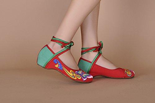 Zapatos bordados con diseño de mariposa, suela de tendón, estilo étnico, hembras, moda, cómodo, zapatos de baile. red green
