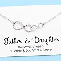 Father and Daughter Necklace • Personalized Gift • Sterling Silver Double Infinity • Infinite Love