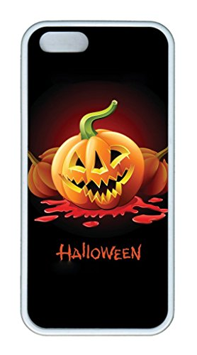 iPhone 5S/5 Case,White,Soft TPU(Thermoplastic Urethane)Case,(Case can be customized)Ultra-thin Phone Case Soft Back Cover Snap on Case,Nice Logo Cut-Out Fits iPhone5/5S -Halloween Pumpkin (Halloween Cutouts For Pumpkin Carving)