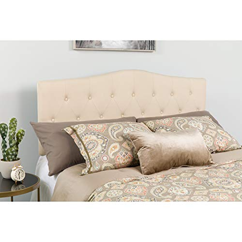 Flash Furniture Cambridge Tufted Upholstered Queen Size Headboard in Beige Fabric - (Upholstered Queen Headboard)