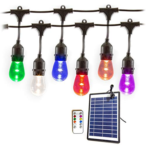 Solar Power LED Outdoor Patio Color Changing String Hanging Lights. Heavy Duty Commercial Grade. 25ft in Length with 12 Premium LED Vintage Edison Bulbs. Wireless Remote Control with timer. ()