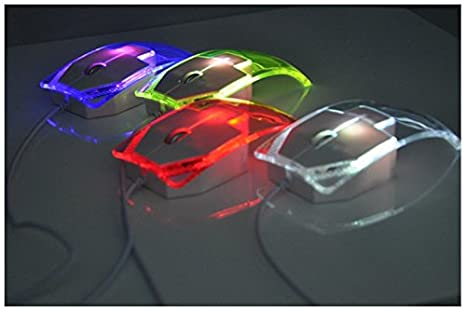 Ratón USB ratón óptico Scroll 7 colores Cambio LED que cambia con cable 800 dpi transparencia para portátil PC Ordenador by FamilyMall Store: Amazon.es: ...