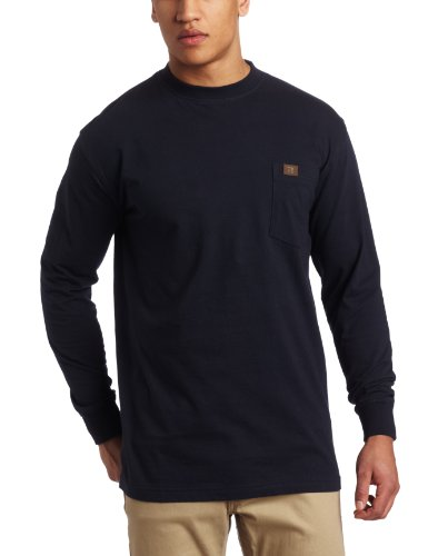 Wrangler Men's Tall Riggs Workwear Long Sleeve Pocket T-shirt, Navy, 3X
