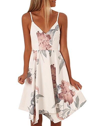 - Asvivid Womens Casual V Neck Spaghetti Straps Knee Length Floral A-Line Midi Dress Plus Size XL White