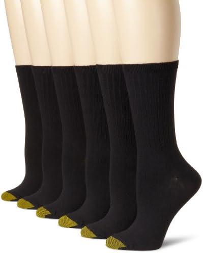 Gold Toe Women's Casual Ribbed Crew Socks, 6 Pairs