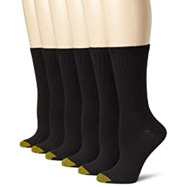 Gold Toe womens Casual Ribbed Crew Socks, 6 Pairs