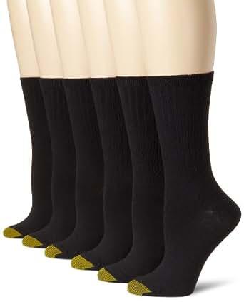 Gold Toe Women's Ribbed Crew (2 PK (12 Pairs), Black)