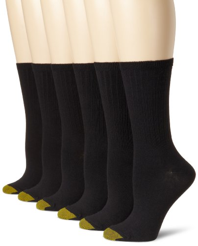 Gold Toe Women's 6-Pack Casual Ribbed Crew Sock, Black, Shoe Size: 6-9