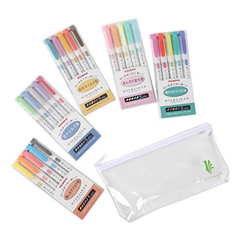 ZEBRA MILDLINER Highlighter pen markers, 5-Pack (WKT7-5C / WKT7-5C-NC / WKT7-5C-RC / WKT7-N-5C / WKT7-5C-HC) 25 Color Full Range Set with Original vinyl pen case by ZEBRA MILDLINER (Image #9)